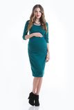 The Teal Green Sweater Midi Body Con Dress is a form-fitting dress that hits just below the knee. This dress features a feminine scoop neckline, ruching to hide side bumps, and three-quarter sleeves. Style is designed to wear before, during and after pregnancy.