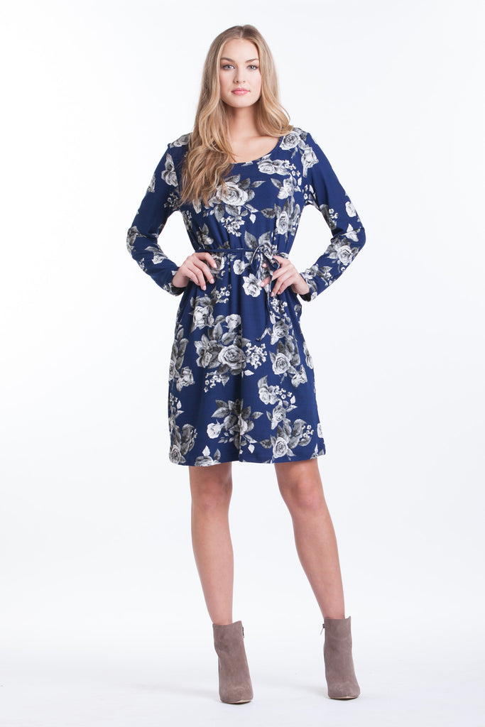 Shift Dress - Navy Floral