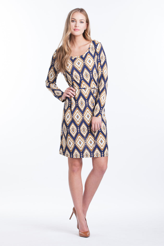 Shift Dress - Navy/Gold Ikat