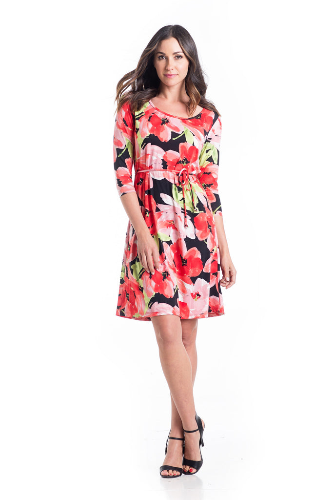Shift dress in Floral design is an above-the-knee dress is cinched at the waist with a belt.  The material and cut work for women and maternity.