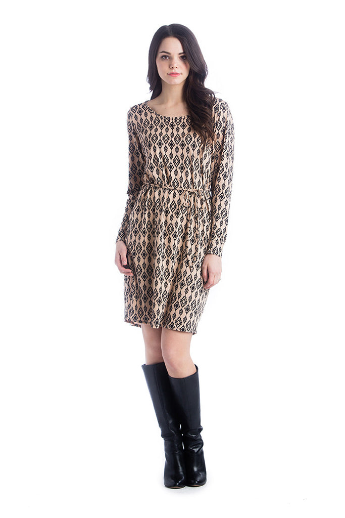 The Camel/Black Ikat Print Shift Dress is an above-the-knee dress is cinched at the waist with a belt to accentuate the hourglass figure. The scoopneck, long sleeves and beautiful pattern are feminine and flattering. Style is designed to wear before, during and after pregnancy.