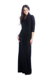 The Melissa Dress in Black Sweater is a quarter sleeve maxi dress with cowl neck.  It is great for women and pregnancy.