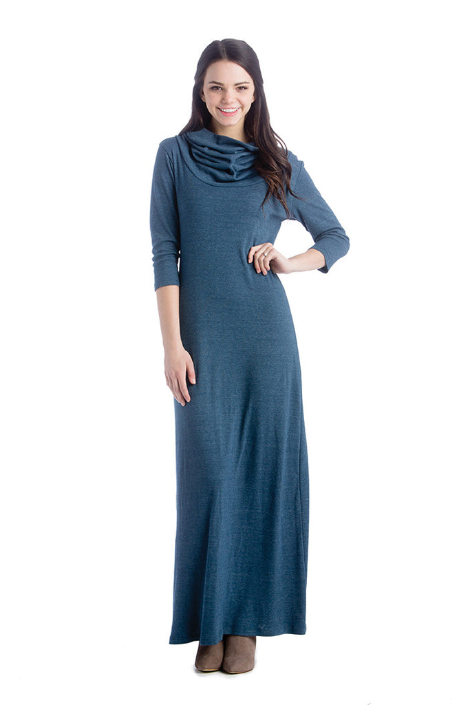 The Melissa Dress in Navy Blue Tri-Blend Sweater is a quarter sleeve maxi dress with cowl neck.  It is great for women and pregnancy.