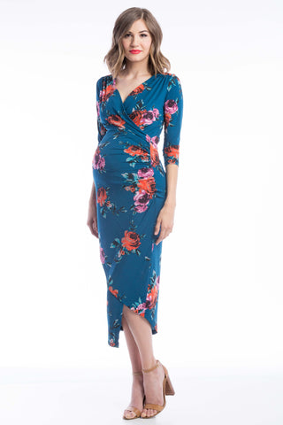 Carly Nursing Dress Teal Floral