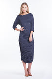 Boatneck Midi Dress - Navy Pinstripe