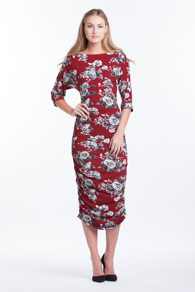 Boatneck Midi Dress - Ruby Floral