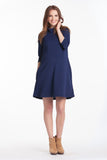 Mock Swing Dress Navy