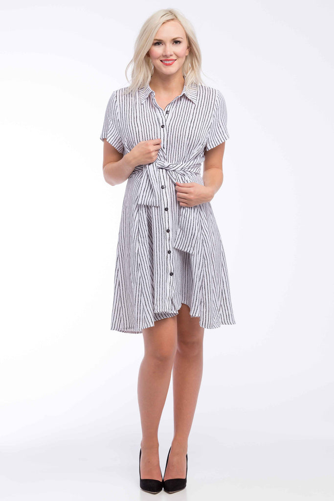 Button Down Dress in White Black Stripe is perfect for pregnant women, nursing women, and women.