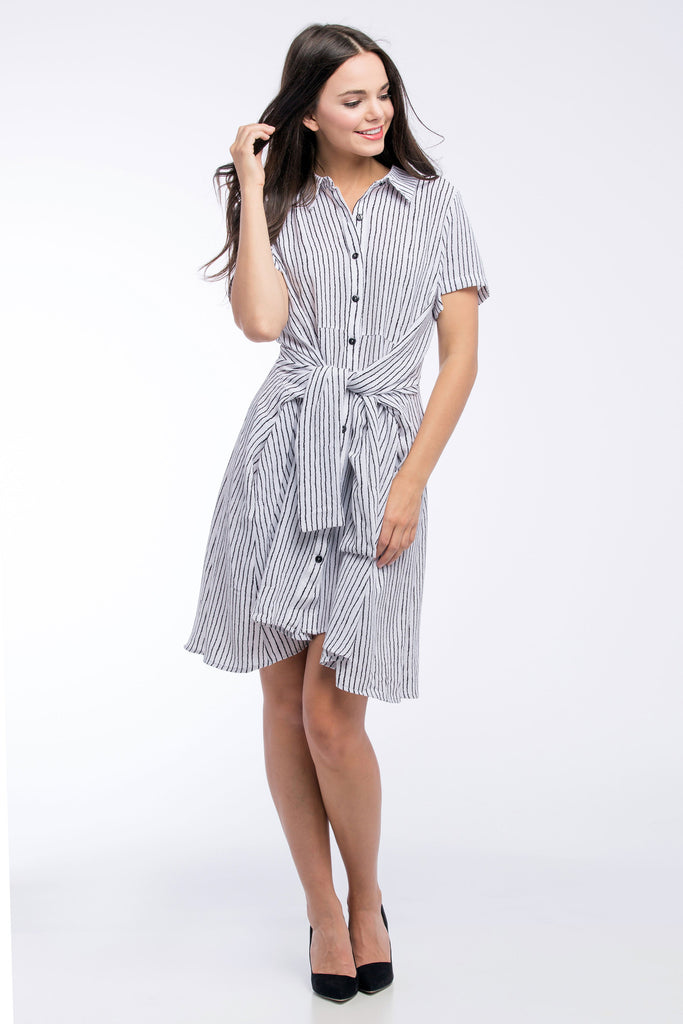 Button Down Dress - White/Black Pinstripe