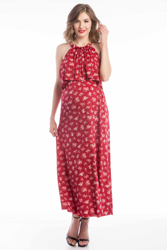 Halter Nursing Maxi Dress in Burgundy Rose Print (Red Floral) is perfect for pregnant women, nursing women, and women.