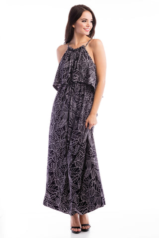 Halter Maxi - Black/Grey Leaf