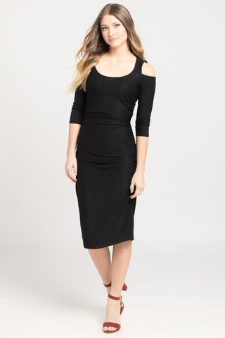 Cold Shoulder Ruched Bodycon - Black