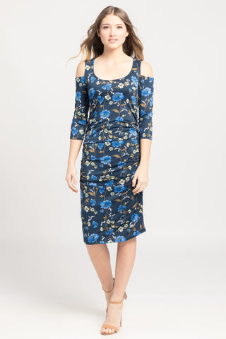 Cold Shoulder Ruched Bodycon - Navy/Blue Floral