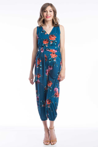 Jumpsuit in Teal Floral (Green Blue Print) is perfect for pregnant women, nursing women, and women.