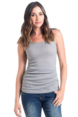 The Grey Ribbed Tank has sleeves are cut to hide any bra strap yet flatter those pretty shoulders and side ruching which is great for women and maternity.