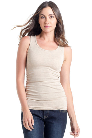 The Wheat Ribbed Tank has sleeves are cut to hide any bra strap yet flatter those pretty shoulders and side ruching which is great for women and maternity.