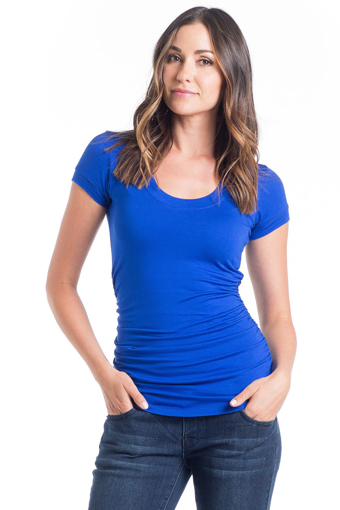 The Hailey Top in Cobalt is a flattering scoop neckline, combined with side ruching and short sleeves that is great for women and maternity.