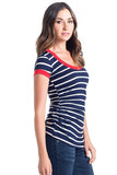 The Hailey Top in Navy Ivory Stripes with Red Ringer is a flattering scoop neckline, combined with side ruching and short sleeves that is great for women and maternity.
