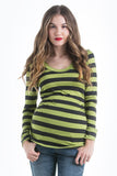 The Lime Green and Charcoal Grey Stripes Hailey Tee has the perfect flattering scoop neckline, combined with side ruching and long sleeves. Style is designed to wear before, during and after pregnancy.