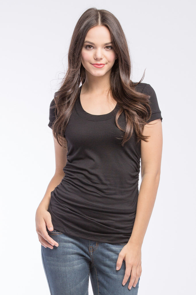 The Black Hailey Tee has the perfect flattering scoop neckline, combined with side ruching and short sleeves. Style is designed to wear before, during and after pregnancy.