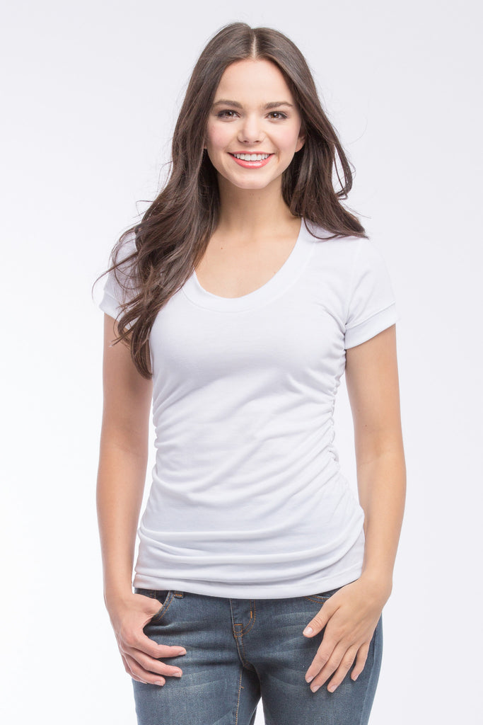 The White Hailey Tee has the perfect flattering scoop neckline, combined with side ruching and short sleeves. Style is designed to wear before, during and after pregnancy.