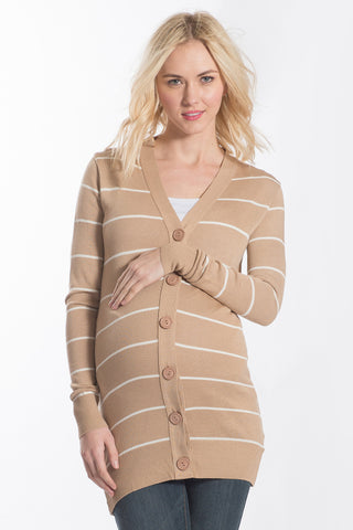 The Button Cardigan in Tan Beige/Ivory Stripes has long sleeves.  It is perfect for women, maternity, and nursing moms.
