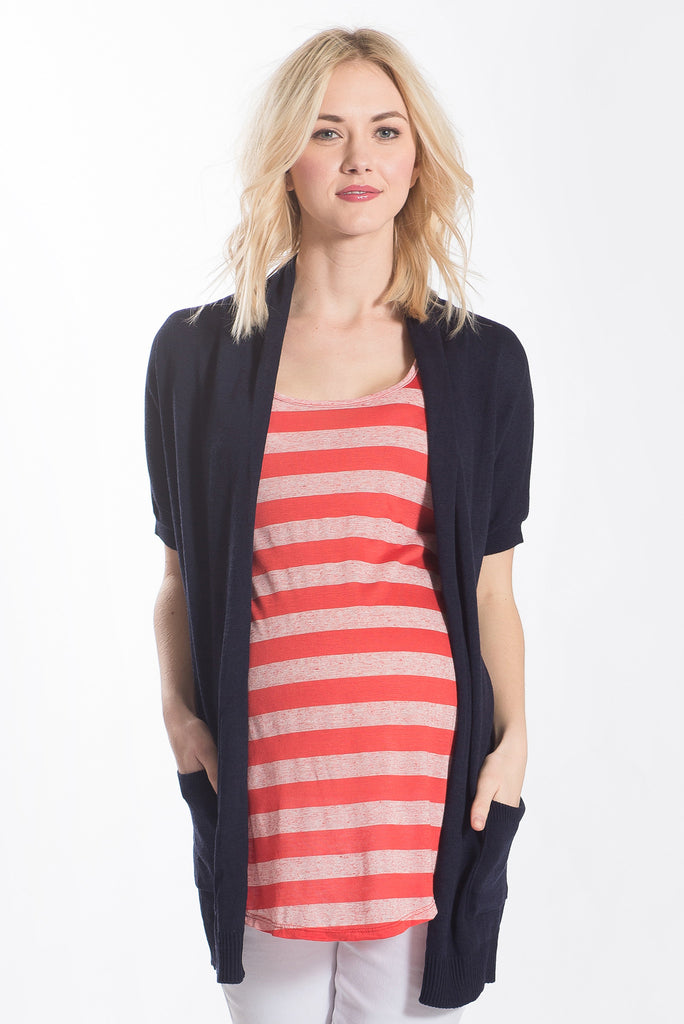 The Lori Cardigan is a long sweater cardigan with short sleeves in Navy Blue.  It is perfect for women, maternity, and nursing moms.