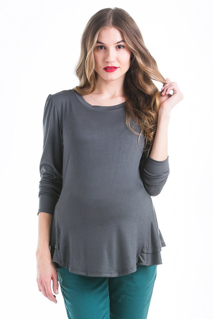 The Morgan Top in Grey is a peplum top.  It is perfect for women and pregnancy.