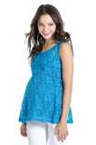 The Laila Top in Aqua Blue Lace is perfect for women and pregnancy.
