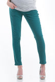 The Colored Skinny Jeans in Teal Green have a belly band that is great for smoothing the midsection or support during pregnancy.