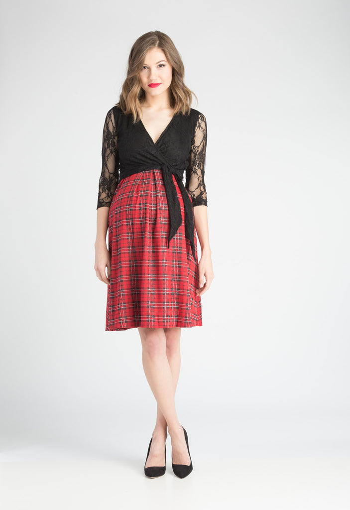 Black and Plaid Combo surplice belted dress with pockets.  The Abby Dress is an A-line dress with 3/4 length sleeves and pleats at the waist give a figure flattering line. Crossover neckline works great for nursing.  The material and cut make this dress work for women, maternity, and nursing.