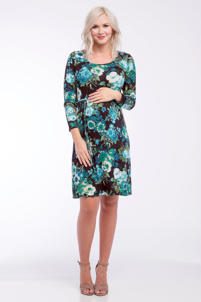 Shift Dress Blue Black Floral