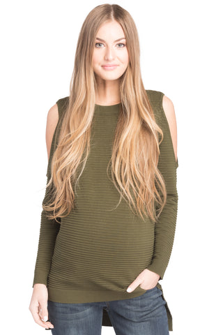 Cold Shoulder Sweater Olive