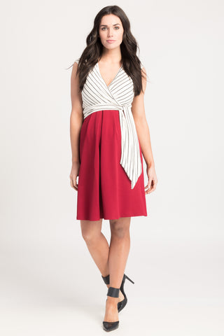 Crossover Nursing Dress w/ Pockets Ivory Stripe/Berry