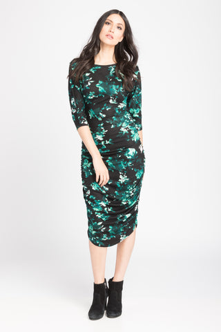 Ruched Bodycon Dress - Teal Floral