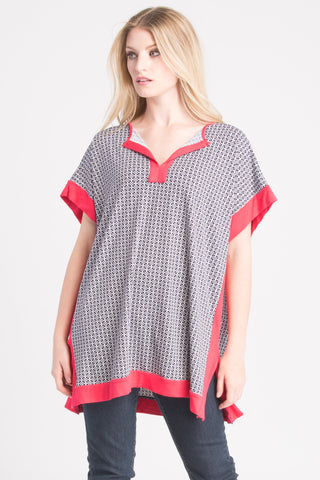 Caftan Top - Tomato/Navy