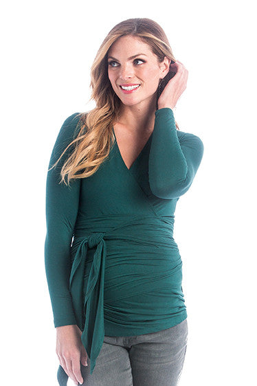 The Hunter Green Bella Top has an adjustable neckline, it shows just enough to keep it sexy without showing too much and is great for nursing. The wrap accentuates or hides your midsection as you please. Tip: Hide back bumps by puckering the material to your body's desire. The Bella Top is perfect before, during, and after pregnancy.