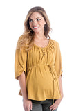 The Emmy Top in Gold is a peasant blouse with quarter sleeves.  It is perfect for women and pregnancy