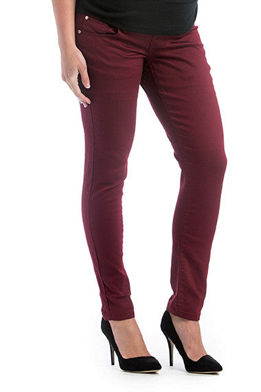 Colored Skinny Denim Burgundy