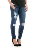 Distressed dark wash skinny jeans with belly band that works for figure-shaping or maternity.