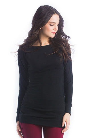 The Taylor Top in Black Sweater is a boatneck blouse with ruching on the sides and kimono-style sleeves.  It is perfect for women and pregnancy.