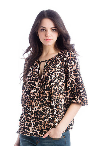 The Kylie Top in Animal Print is a wrap top with a keyhole and hook closure in the front.  It is nursing friendly.  Perfect for women, pregnancy women and nursing moms.