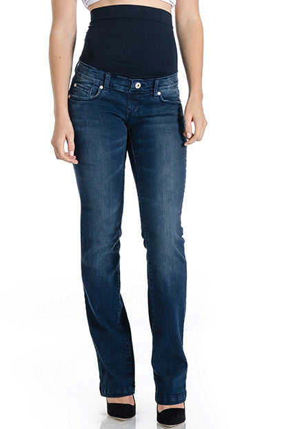 Dark wash bootcut jeans with belly band that works for figure-shaping or maternity.  Lilac Clothing's signature denim style.