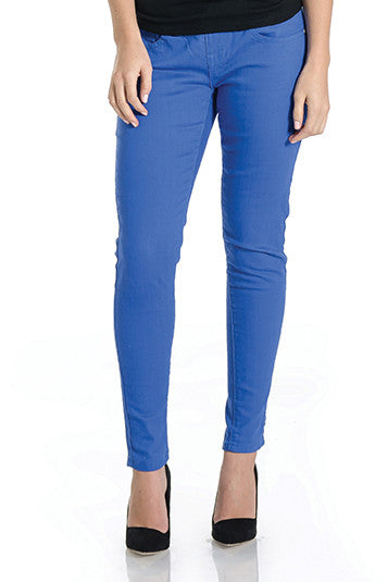 Cobalt denim skinny jeans with belly band that works for figure-shaping or maternity.