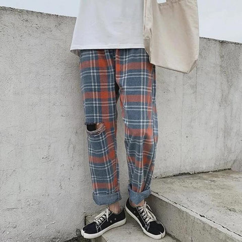 Distressed Plaid Trousers