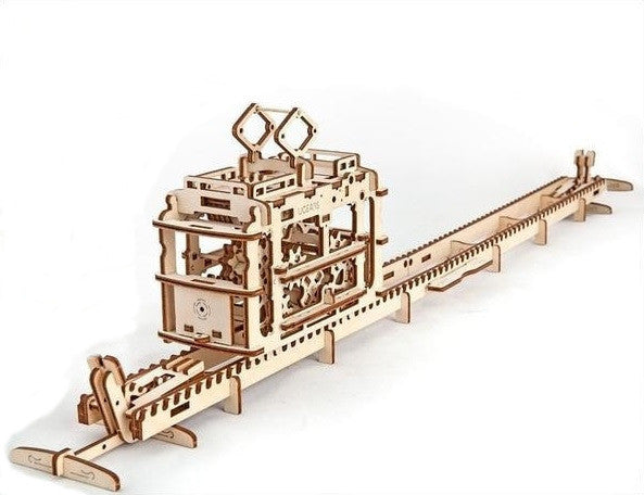Tram - mechanical 3d wooden model