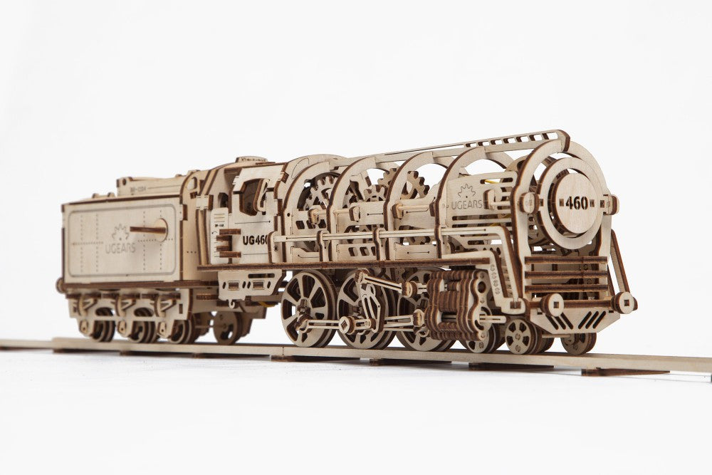 Wooden Train 460 Steam Locomotive with tender- Ugears Mechanical 3D Puzzle Tinker Toy