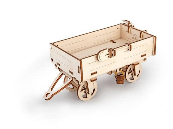 wooden 3d model of tractors trailer
