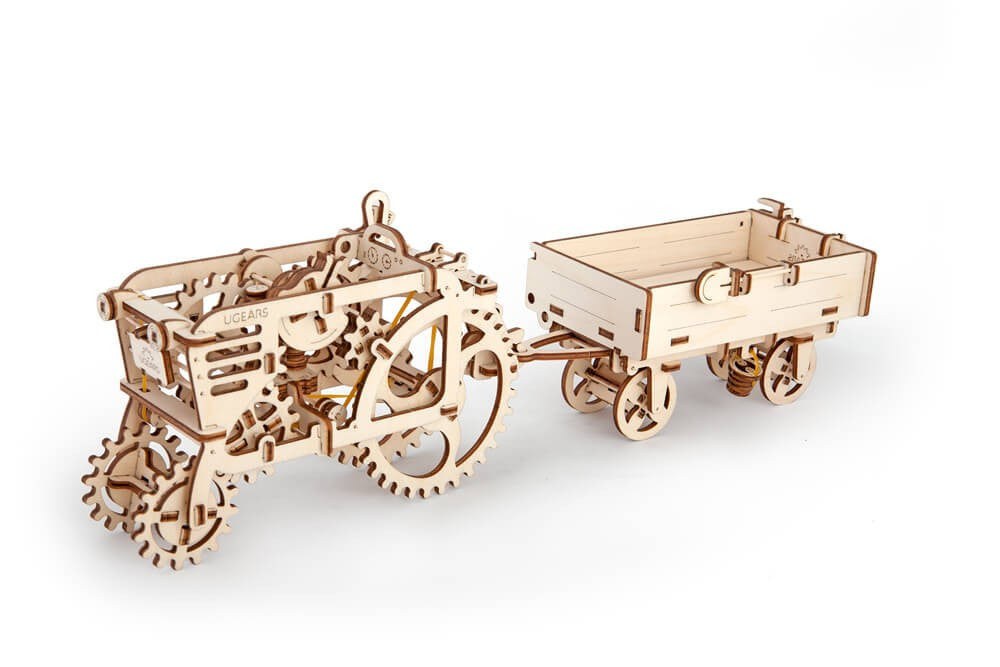 Ugears Bundle 2 in 1 Tractor + Trailer Mechanical 3D Puzzle Tinker Toy