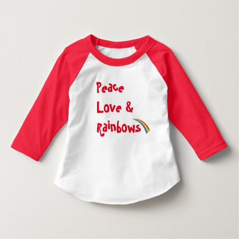 Kind Kiddo Toddler Peace Love & Rainbows 3/4 Sleeve Raglan T-Shirt - CLOSE OUT